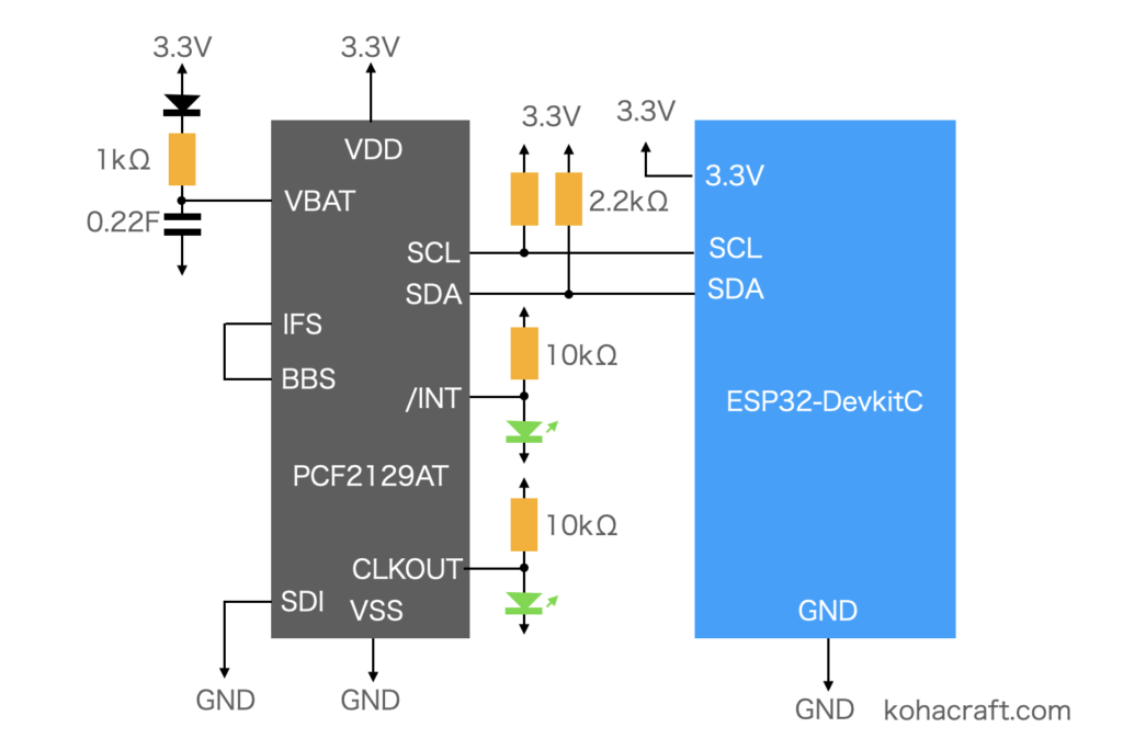 PCF2129のI2C接続回路